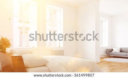 Sunny hotel room suite with bed and sofa (3D Rendering) - stock photo