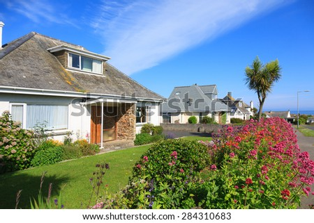Sunny Houses in Cornwall,England - stock photo