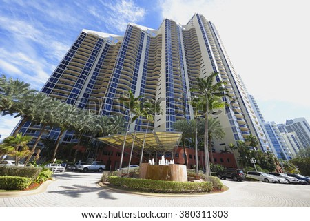 SUNNY ISLES BEACH - FEBRUARY 12: Image of the Pinnacle beachfront residences located at 17555 Collins Avenue stands at 475 feet tall completed in 1998 February 12, 2016 in Sunny Isles Beach FL - stock photo