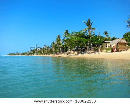 Sunny Maenam beach of Koh Samui, Thailand - stock photo