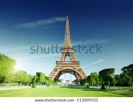 sunny morning and Eiffel Tower, Paris, France - stock photo