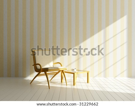 Sunny morning - 3d rendered image - stock photo