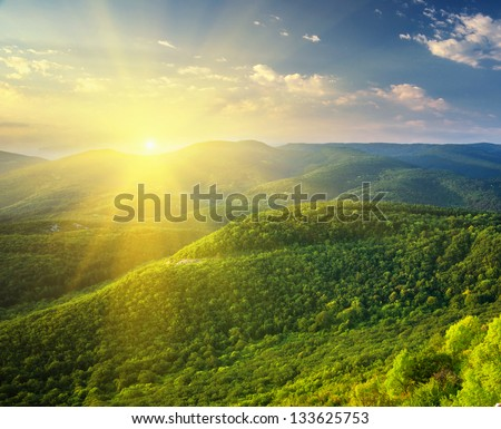 Sunny morning in mountain. Beautiful landscape composition. - stock photo