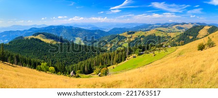 Sunny morning in the Carpathian mountains, panorama - stock photo