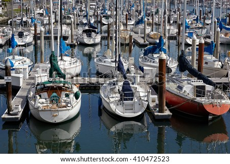 Sunny picturesque yacht harbor. California, USA. - stock photo
