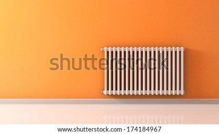 sunny room with a radiator on a orange wall (3d render) - stock photo