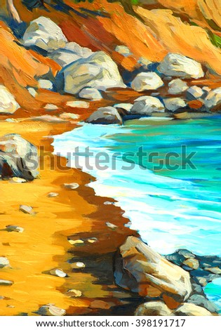 sunny sea bay with a beach, oil painting on canvas, illustration - stock photo