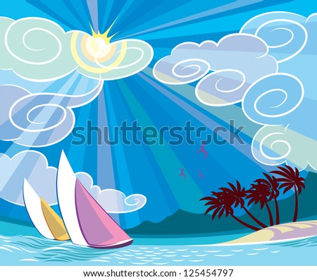 Sunny seascape with yachts, palms and islands. Raster image. Find a vector version in my portfolio. - stock photo