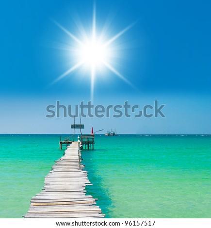 Sunny Serenity Boardwalk Admire - stock photo