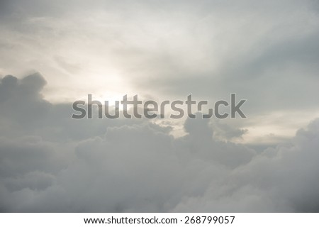 Sunny sky abstract background, beautiful cloudscape, on the heaven, view over white fluffy clouds, freedom concept - stock photo