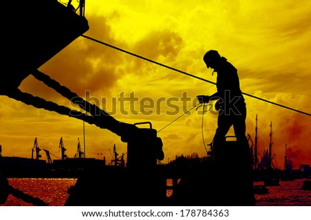 Sunny sky at the harbour - stock photo