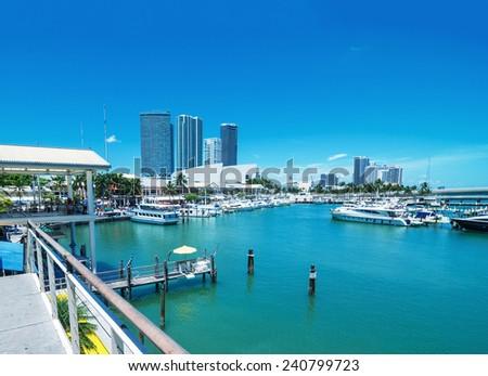 Sunny sky of Miami. City buildings and skyline. - stock photo