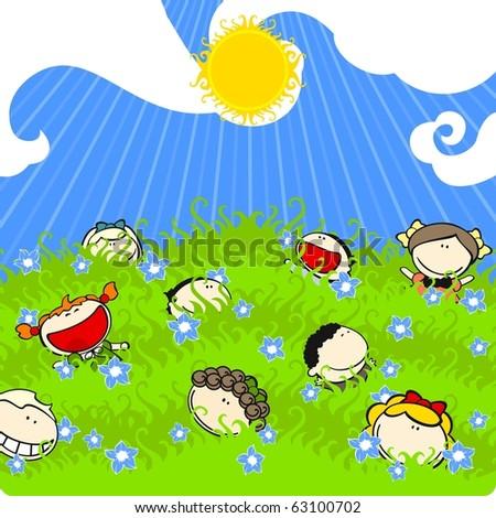 Sunny summer day (raster version) - stock photo