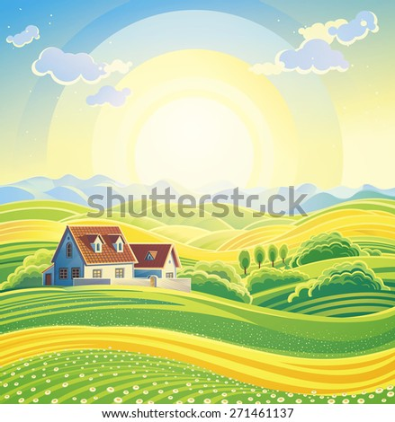 Sunny summer landscape with village.  - stock photo