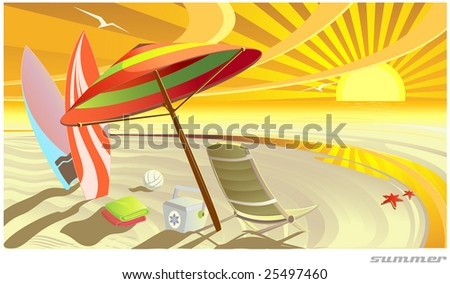Sunny summer tropic beach raster illustration - stock photo