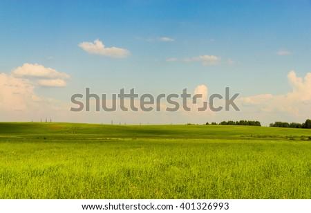 Sunny Summertime Green Plain  - stock photo