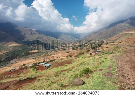 Sunny valley in mountains. Shot in Lesotho.