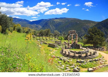 Sunny valley near Parnassus mountains with ancient ruins, Delphi, Greece - stock photo