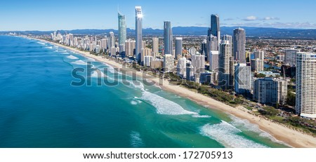 Sunny view of Gold Coast, Queensland, Australia - stock photo