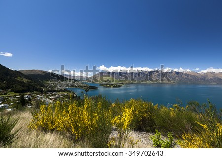 Sunny view of Queenstown on New Zealand's South Island - stock photo