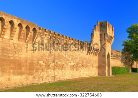 Sunny walls protecting the old town of Avignon, Provence, France - stock photo