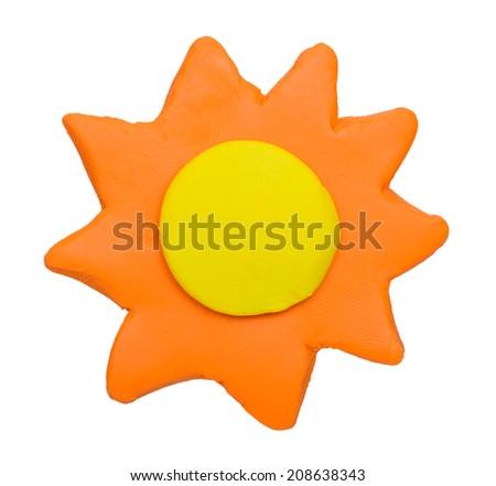 Sunny weather forecast icon symbolplasticine clay on white background - stock photo