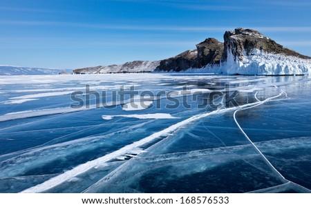 Sunny winter day at Baikal Lake - stock photo