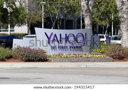 SUNNYVALE, CA � MARCH 18: The Yahoo! World Headquarters located in Sunnyvale, California on March 18, 2014. Yahoo! Inc is an American multinational internet corporation. - stock photo