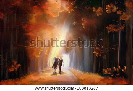 Sunrise alley in autumn park with woman and her horse. Digital hand drawing - simulated oil painting with canvas texture - stock photo
