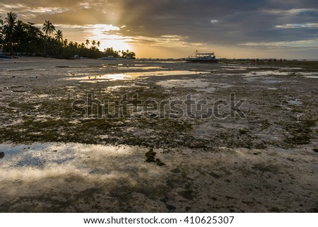 Sunrise and low tide at Panglao island of Philippines - stock photo