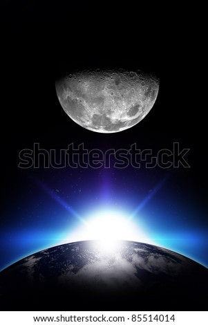 Sunrise and Moon - Vertical Space Illustration. Rising Sun, Earth and the Moon. Simple and Cool Illustration. Your Logo Ready! - stock photo