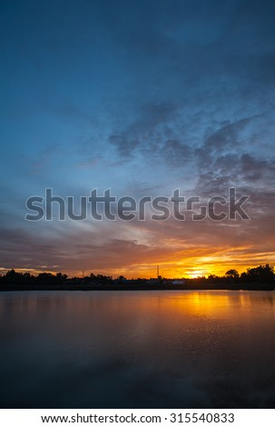 Sunrise and morning  along the marsh.  - stock photo