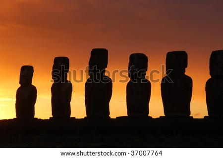 Sunrise at Ahu Tongariki, Easter Island, Chile - stock photo