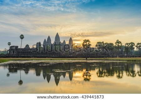 Sunrise at Angkor Wat Temple, Siem Reap, Cambodia - stock photo