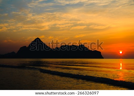 Sunrise at Ao manow, Thailand. - stock photo