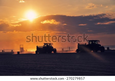 Sunrise at Atlantic City Beach, NJ - stock photo