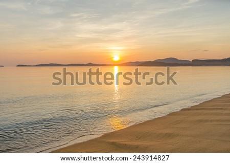Sunrise at bophut beach samui island thailand - stock photo