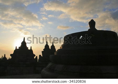 Sunrise at Borobodur temple, Yogyakarta, Indonesia - stock photo