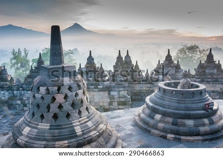 Sunrise at Borobudur Temple, Yogyakarta, Java, Indonesia.  - stock photo