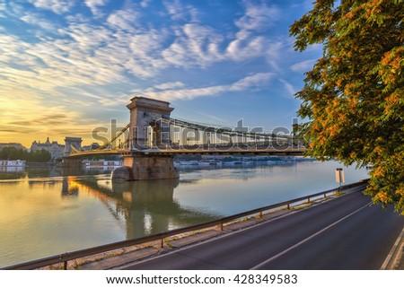 sunrise at Budapest Chain Bridge, Hungary - stock photo