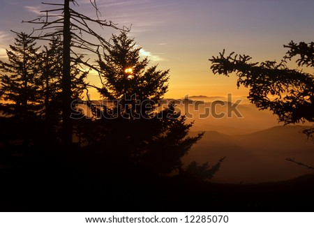Sunrise At Clingman's Dome, Great Smoky Mountains National Park - stock photo