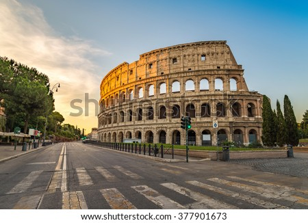 Sunrise at Colosseum, Rome, Italy - stock photo