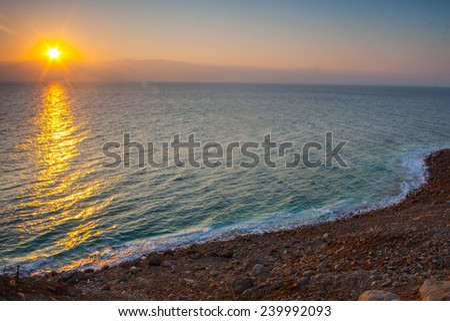 Sunrise at Dead Sea, Israel.  - stock photo