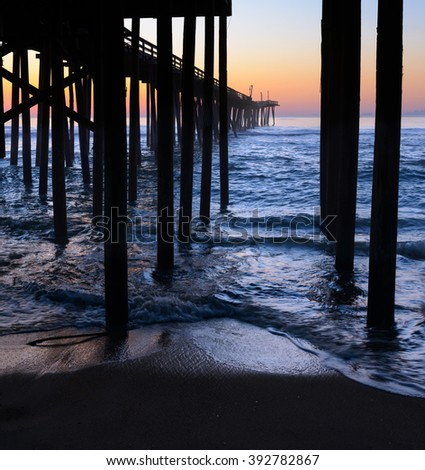 Sunrise at Fishing Pier in North Carolina - stock photo