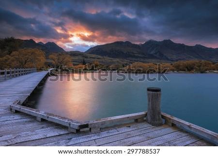 Sunrise at Glenorchy Jetty, New Zealand - stock photo