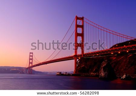Sunrise at Golden Gate - stock photo