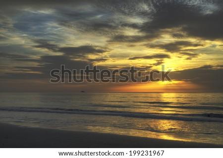 Sunrise at Hangar Beach in Florida. - stock photo