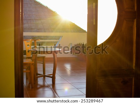 Sunrise at hotel room waking up in the paradise - stock photo