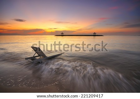 Sunrise at Karang beach or Sanur beach in bali indonesia island one of the fabulous place to visit when you in Bali. - stock photo