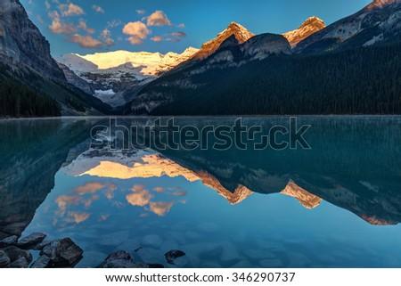 Sunrise at Lake Louise, Banff National Park, Alberta, Canada - stock photo